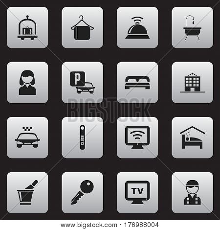 Set Of 16 Editable Hotel Icons. Includes Symbols Such As Hotel Trolley, Female, Door Closed And More. Can Be Used For Web, Mobile, UI And Infographic Design.