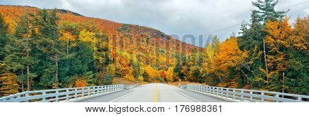 Highway and Autumn foliage panorama in White Mountain, New Hampshire.