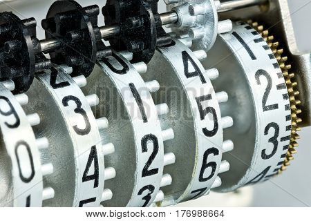 Counter Rolls With Different Numbers. Scoreboard Mechanism Closeup.