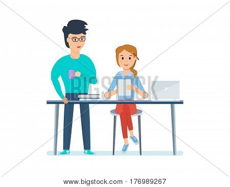 Business people working office concept. Young co-workers, discussing a project, that the girl designer presents on her tablet. Vector illustration isolated on white background.