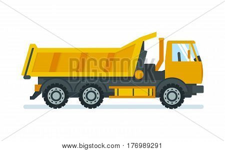 Lorry for transportation of goods and materials, heavy of weight. Vector illustration isolated on white background.