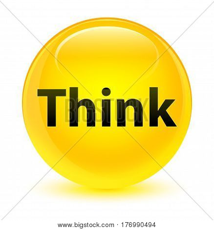 Think Glassy Yellow Round Button