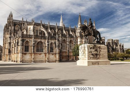 Side view over famous Batalha Monastery, Portugal