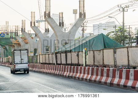 BANGKOK, THAILAND - March 5, 2017 : BTS green line under construction in Bangkok Thailand.