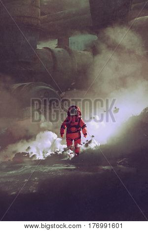 astronaut walking through smoke on planet with sci-fi buildings on background, illustration painting