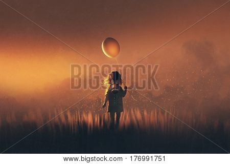 the little girl with gas mask holding balloon standing in fields at sunset, illustration painting