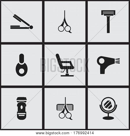 Set Of 9 Editable Barbershop Icons. Includes Symbols Such As Desiccator, Elbow Chair, Shaving And More. Can Be Used For Web, Mobile, UI And Infographic Design.