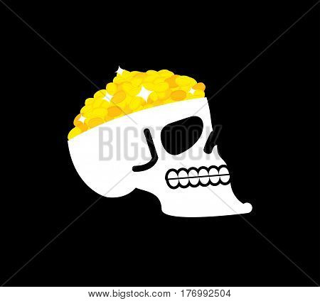 Skull With Gold. Pirate Casket. Head Of Skeleton And Golden Coins