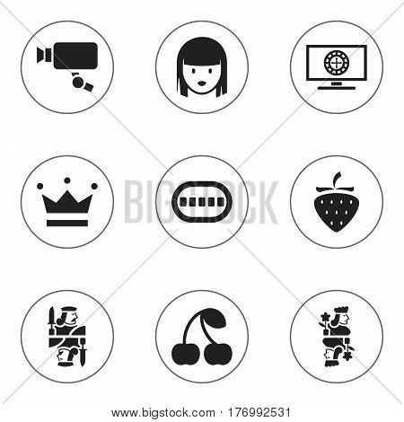 Set Of 9 Editable Gambling Icons. Includes Symbols Such As Tracking Cam, Berry, King And More. Can Be Used For Web, Mobile, UI And Infographic Design.