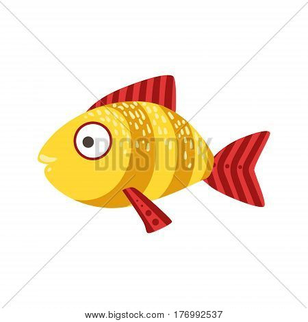 Yellow And Red Stripy Fantastic Colorful Aquarium Fish, Tropical Reef Aquatic Animal. Fantasy Underwater Marine Fauna Cartoon Sea Water Fish Isolated Vector Illustration.