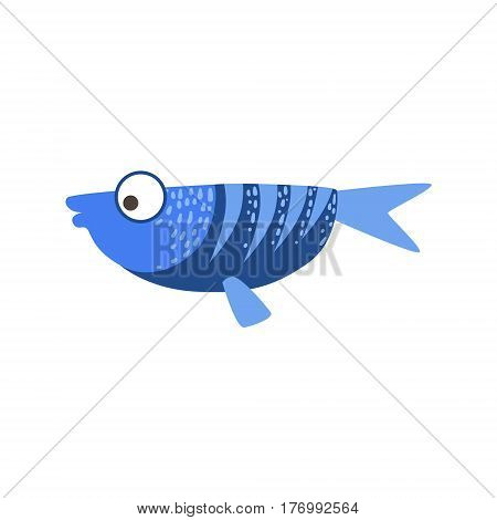 Flat Blue And Dark Blue Fantastic Colorful Aquarium Fish, Tropical Reef Aquatic Animal. Fantasy Underwater Marine Fauna Cartoon Sea Water Fish Isolated Vector Illustration.