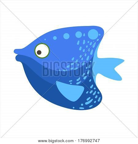 Blue Angelfish Fantastic Colorful Aquarium Fish, Tropical Reef Aquatic Animal. Fantasy Underwater Marine Fauna Cartoon Sea Water Fish Isolated Vector Illustration.