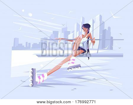 Cute girl roller. Woman in rollers on rollerdrome. Vector illustration