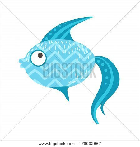 Blue Zigzag Pattern Fantastic Colorful Aquarium Fish, Tropical Reef Aquatic Animal. Fantasy Underwater Marine Fauna Cartoon Sea Water Fish Isolated Vector Illustration.