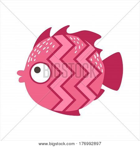 Pink Zigzag Pattern Fantastic Colorful Aquarium Fish, Tropical Reef Aquatic Animal. Fantasy Underwater Marine Fauna Cartoon Sea Water Fish Isolated Vector Illustration.