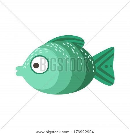 Turquoise And Green Shades Of Color Fantastic Colorful Aquarium Fish, Tropical Reef Aquatic Animal. Fantasy Underwater Marine Fauna Cartoon Sea Water Fish Isolated Vector Illustration.
