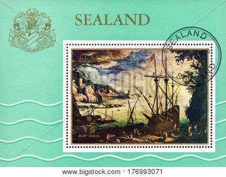 UKRAINE - CIRCA 2017: A stamp printed in Sealand the reproductions of the Flemish landscape artist Paul Bril Port circa 1970