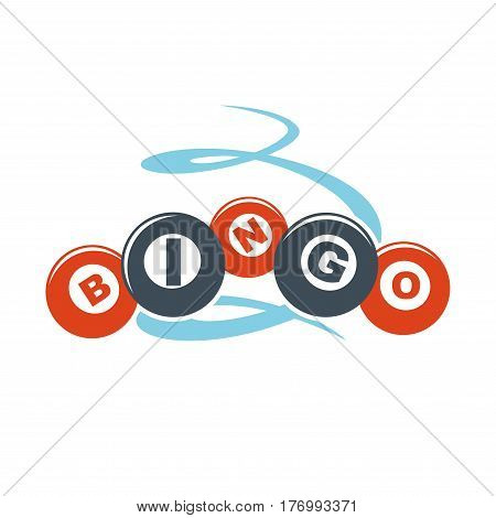 Bingo letters on colorful balls hand drawn pattern isolated on white. Flying orbs or lottery colorful characters. Vector Illustration graphic icon in cartoon with text inscription