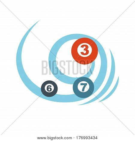 Flying balls or lottery colorful numbers graphic icon. Blue vortex rotates non-ferrous ores with numerics. Vector illustration in cartoon style flat design for infographics, websites, mobile app.