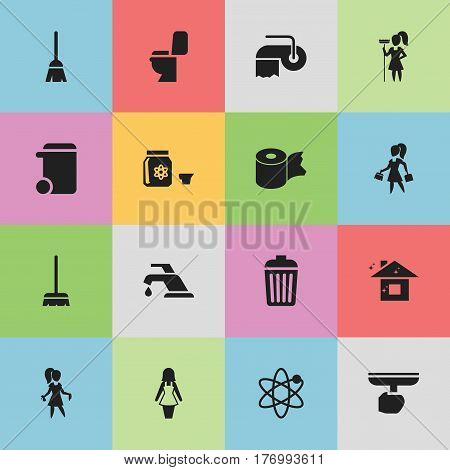 Set Of 16 Editable Cleanup Icons. Includes Symbols Such As Broomstick, Working At Home, Pure Home And More. Can Be Used For Web, Mobile, UI And Infographic Design.