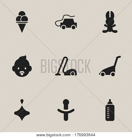 Set Of 9 Editable Folks Icons. Includes Symbols Such As Bunny, Car, Sweeper And More. Can Be Used For Web, Mobile, UI And Infographic Design.
