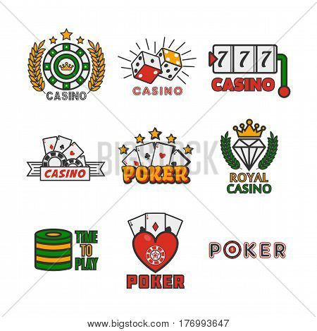 Royal casino template with colorful logo labels vector collection on white. Poker game equipments, signs of carts combinations and symbols of gambling establishments. Poster of gamble badge icons.