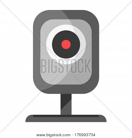 CCTV device with stand for watching icon isolated on white. Vector colorful illustration of security surveillance camera in grey color and rectangular shape. Technical equipment sign in flat design