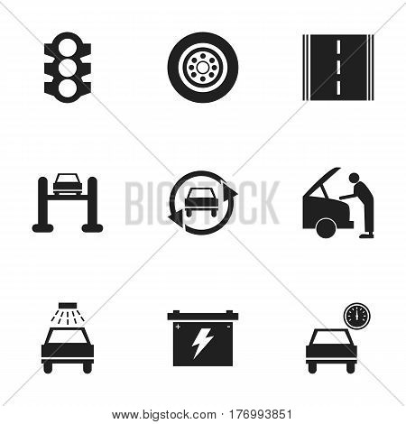 Set Of 9 Editable Traffic Icons. Includes Symbols Such As Tire, Tuning Auto, Stoplight And More. Can Be Used For Web, Mobile, UI And Infographic Design.