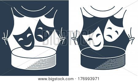 The theater concept in the form of theatrical masks on the background of the stage. Icon in the linear style
