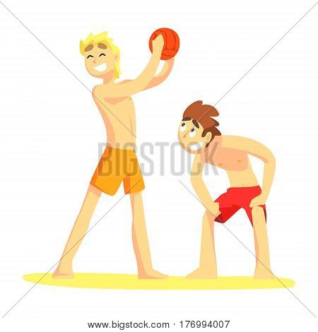 Two Guys Playing Volleyaball, Part Of Friends In Summer On The Beach Series Of Vector Illustrations. Young People In Swimsuits Cartoon Characters Having Seaside Vacation.