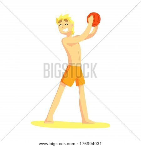 Blond Guy In Shorts Holding Ball, Part Of Friends In Summer On The Beach Series Of Vector Illustrations. Young People In Swimsuits Cartoon Characters Having Seaside Vacation.