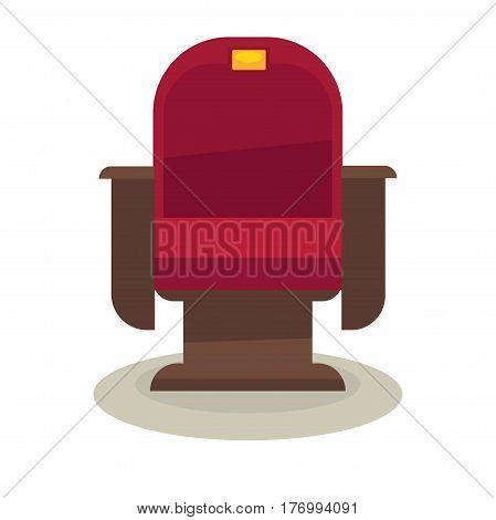 Cinema or theatre chair with velvet lining isolated on white background. Comfortable armchair vector illustration. Red seat with golden plate number and brown armrests for convenient film viewing