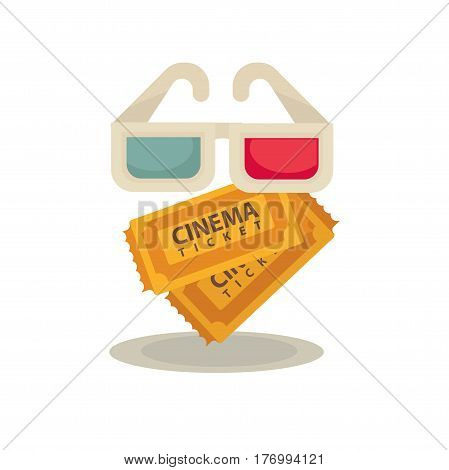 3D movie glasses and two brown vintage paper tickets isolated on white. Vector flat illustration of clients elements set for watching special films and permission in hall. Cinema entertaining concept