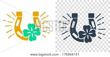 Icon of good luck in the form of a horseshoe and clover