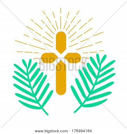 Icon holiday - palm Sunday. Icon in the linear style poster