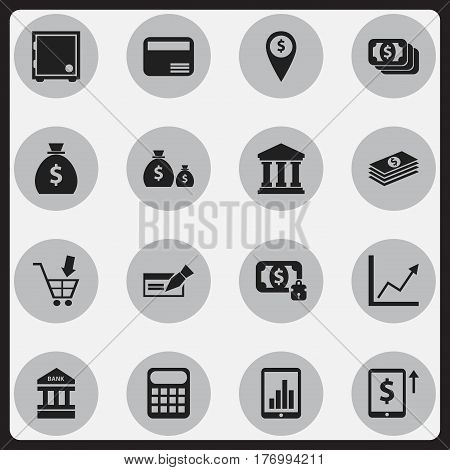Set Of 16 Editable Finance Icons. Includes Symbols Such As Treasure, Banknote, Bar Graph And More. Can Be Used For Web, Mobile, UI And Infographic Design.