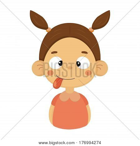 Silly And Joking Little Girl Flat Cartoon Portrait Emoji Icon With Emotional Facial Expression. Cute Kid Cartoon Character Emoticon Vector Illustration Isolated On White Background.