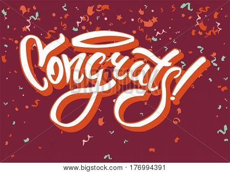 Congratulations on funny holiday graphic text congrats on abstract background. Inscription written beautiful handwriting with exclamation point and various confetti vector illustration flat design.