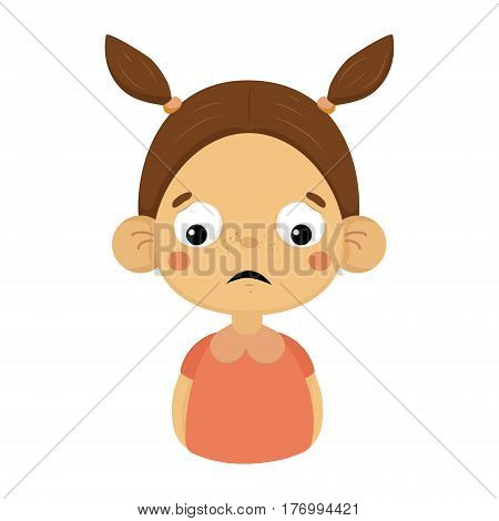 Disappointed Little Girl Flat Cartoon Portrait Emoji Icon With Emotional Facial Expression. Cute Kid Cartoon Character Emoticon Vector Illustration Isolated On White Background.