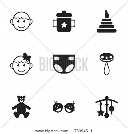 Set Of 9 Editable Baby Icons. Includes Symbols Such As Twins Babies, Rattle, Cheerful Child And More. Can Be Used For Web, Mobile, UI And Infographic Design.