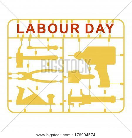 Labor Day Is Set Of Tools. Plastic Kit With Metalwork Instrument. Drill And Hammer. Screwdriver And