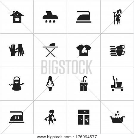 Set Of 16 Editable Dry-Cleaning Icons. Includes Symbols Such As Washing Glass, Sink, Housekeeping And More. Can Be Used For Web, Mobile, UI And Infographic Design.
