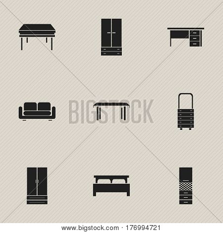 Set Of 9 Editable Interior Icons. Includes Symbols Such As Wall Mirror, Cabinet, Bearings And More. Can Be Used For Web, Mobile, UI And Infographic Design.