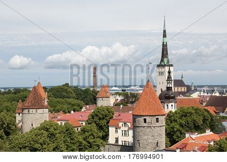 View of churches and towers in Tallinn, Estonia