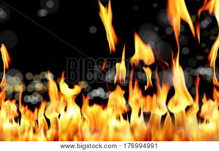 close up shot of fire flames in black