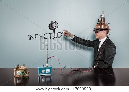 Infection concept with vintage businessman pointing hand