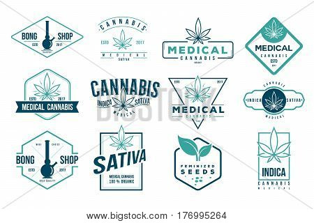 medical cannabis retro logo, label set template vector