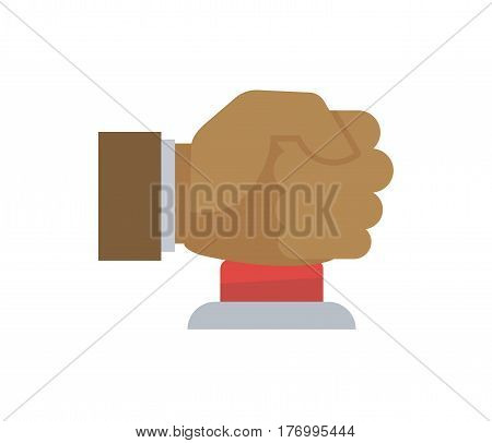 Male hand in fist pressing big red button vector flat illustration. Hand drawn picture with white background of human arm pushing round element for informing about alert. Angry person gives sos sign