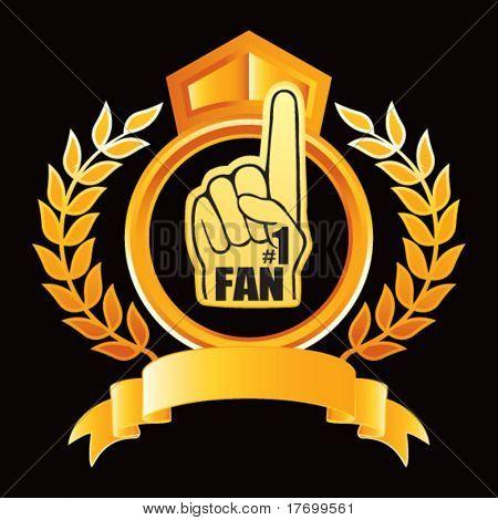 fan foam hand on gold royal crest