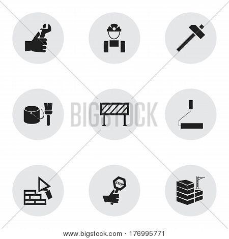 Set Of 9 Editable Structure Icons. Includes Symbols Such As Facing, Hammer, Endurance And More. Can Be Used For Web, Mobile, UI And Infographic Design.